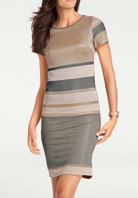 Fine knit dress, taupe-gold