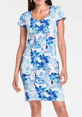 Print dress, white-turquoise