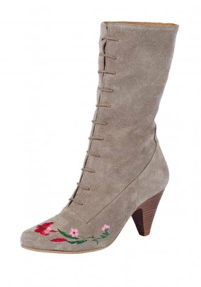 Velours bootiw with embroidery, taupe