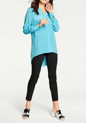 Silk blouse with chiffon sleeves, turquoise