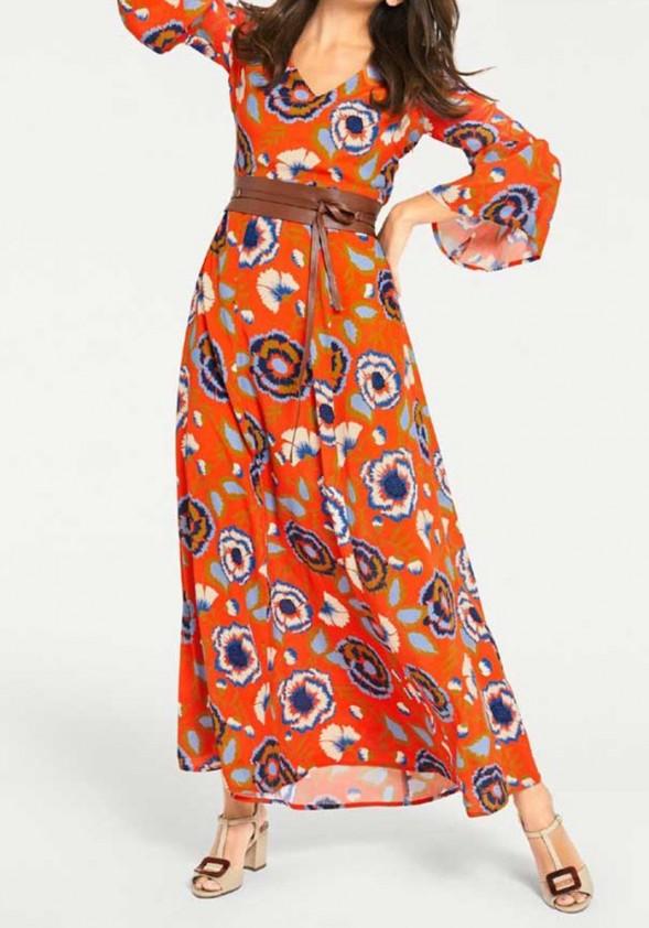 Ilga koralinė suknelė