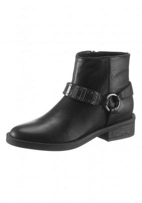 Leather biker boots, black