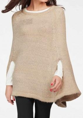 Knit poncho with lurex, beige