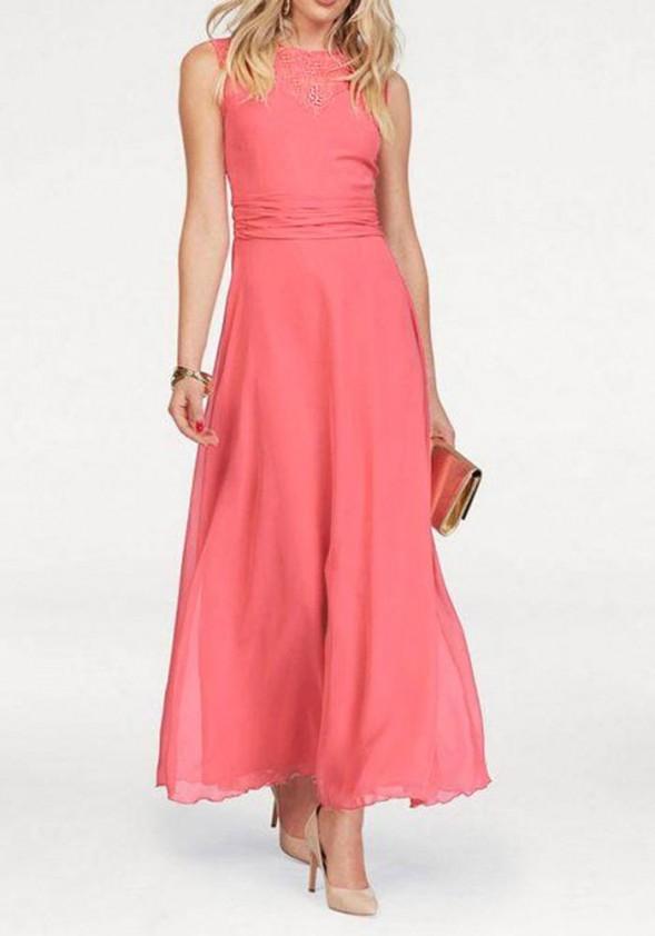 Ilga koralo spalvos suknelė. Liko 38 dydis