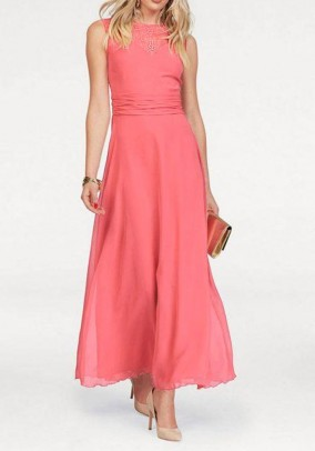 Maxi dress with lace, coral