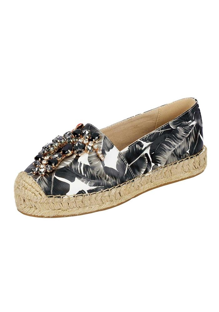 Espadrilles with strass, black-white