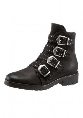 Boots with straps, black