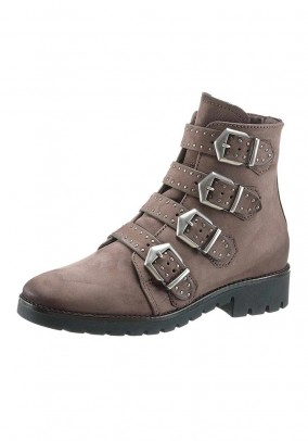 Boots with buckles, taupe