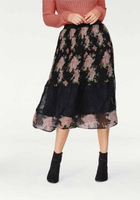 Pleat skirt with lace, black-multicolour
