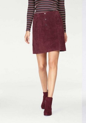 Velours leather skirt, bordeaux