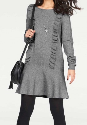 Knit dress with ruffles, grey