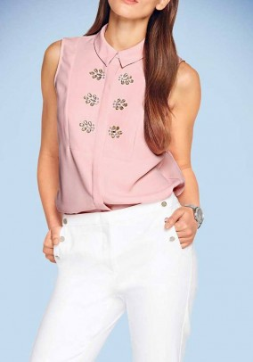 Blouse top with strass stones