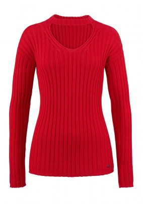 Rib knit sweater, red