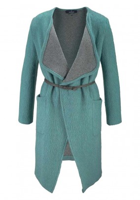 Wool coat with belt, petrol