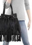 Bag with fringes, black