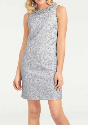 Dress with beads, silver grey