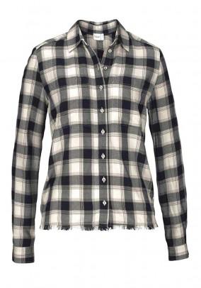 Check blouse shirt, black-ecru