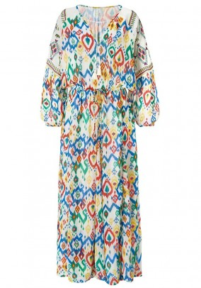 Maxi dress with embroidery, white-multicolour