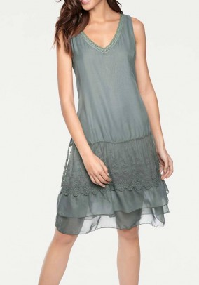 Dress with lace, olive