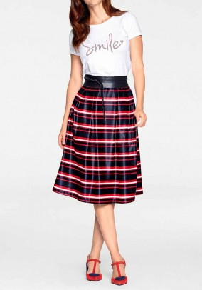 Print skirt, navy-red