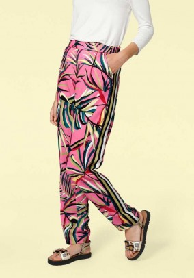 Print trousers, pink-multicolour