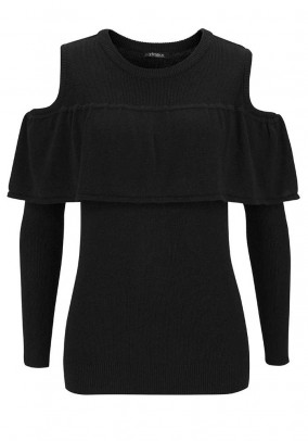Sweatshirt with flounces, black