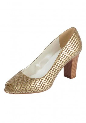 Peeptoe pumps, camel-gold coloured