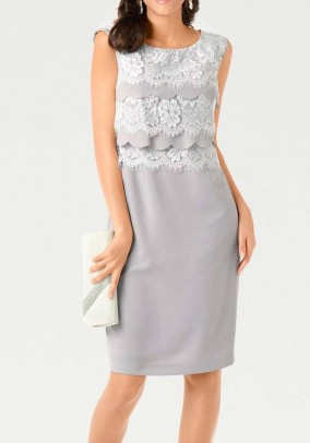 Dress with lace, grey-white