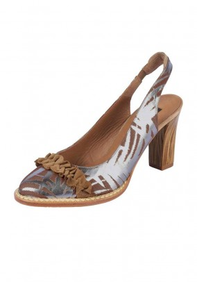 Leather sling pumps, camel-silver coloured