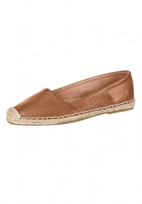 Leather espadrilles, cognac