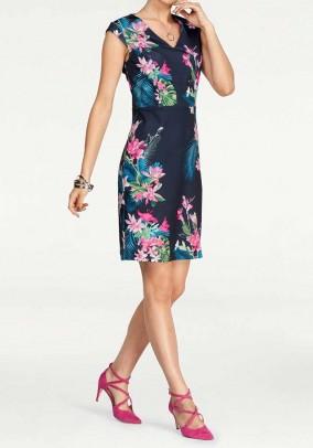 Mėlyna suknelė su gėlėmis