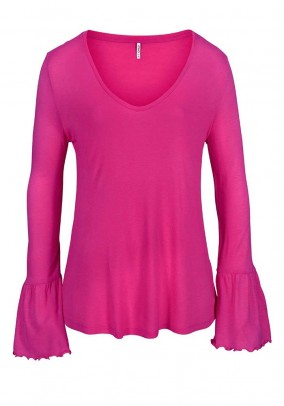 Shirt with flounces, pink