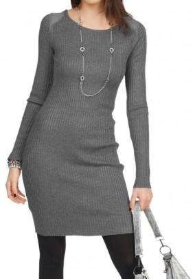 Rib knit dress with strass, grey