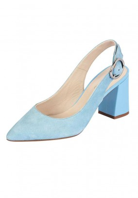 Velour sling pumps, blue
