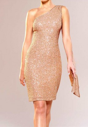 Sequined dress with scarf, nude
