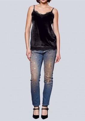 Designer jeans m. Sequins, blue-used