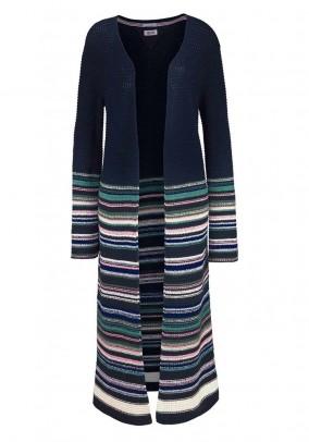 Brand knit coat, marine-colored