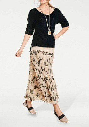 Designer print pleated skirt, beige-black