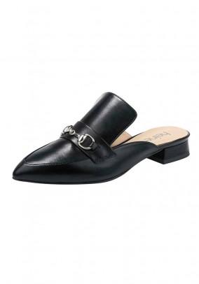 Leather mules, black