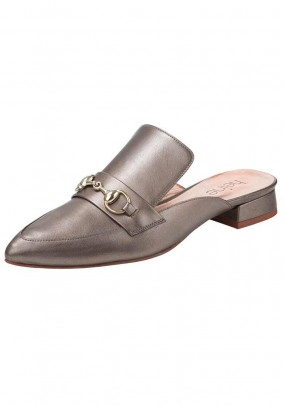 Leather slipper, taupe metallic