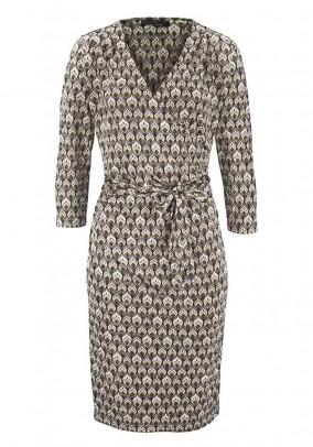 Designer wrap dress, beige-colored