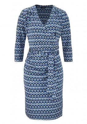 Designer wrap dress, blue-colored