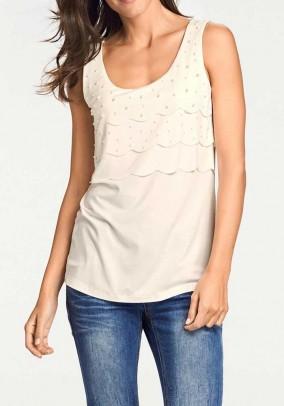 Designer shirt top m. Pearls, ecru