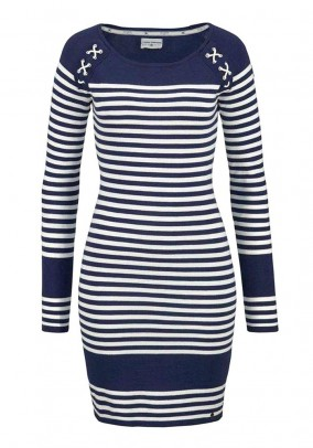 Brand fine-knit dress, navy-white