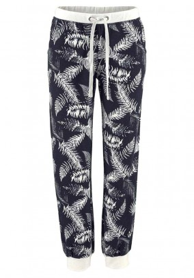 Branded sweat pants, black-offwhite