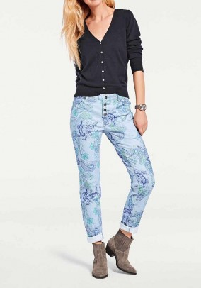 Trousers, blue-green