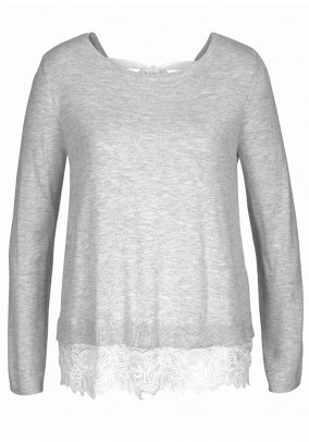 Sweatshirt with lace, blended grey