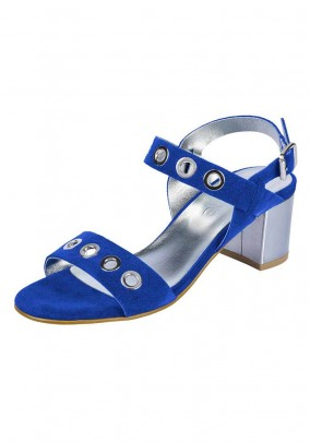 Velours leather sandal, royal blue
