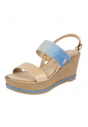 Wedge sandal, nude-blue