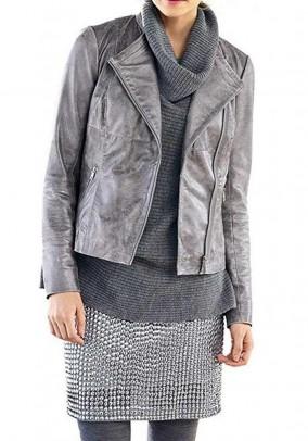 Lamb nappa jacket, grey-silver